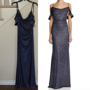 Laundry Shelli Segal Navy Shimmer Formal Gown 8